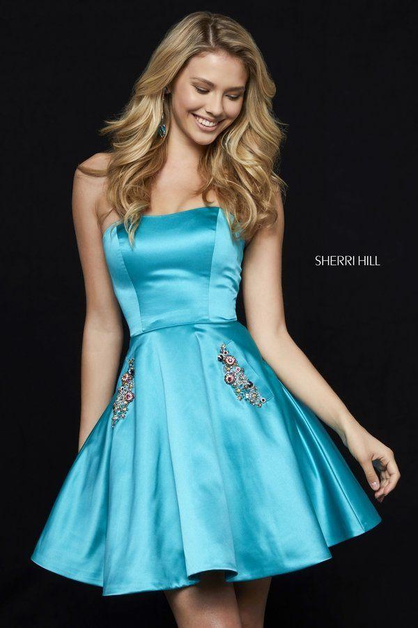 Sherri Hill Beaded Pockets Strapless 2018 Turquoise Satin Cocktail Dresses  52190  ae10d5450