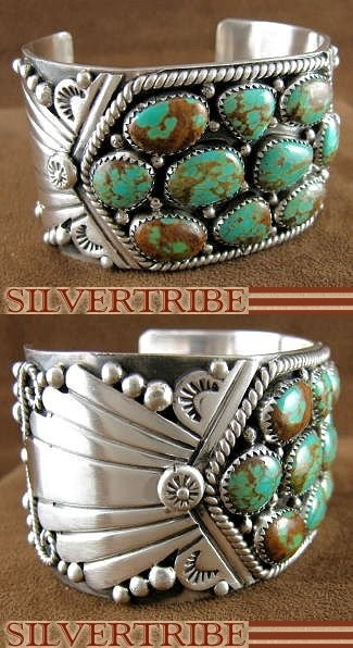 Turquoise and sterling silver cuff bracelet. Old Pawn