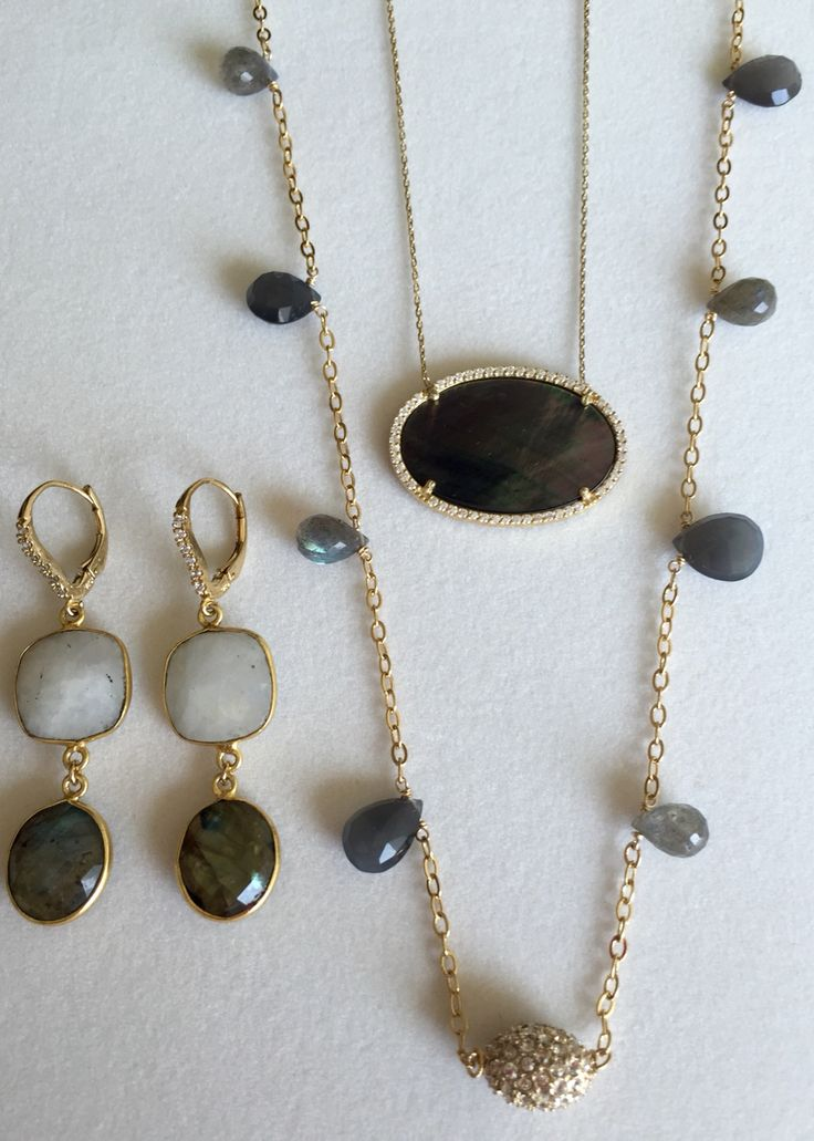 Labradorite, Mother of Pearl and Crystal