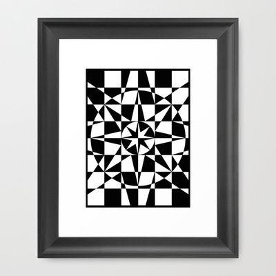 Black & White Star Framed Art Print by V. Kharuzhy