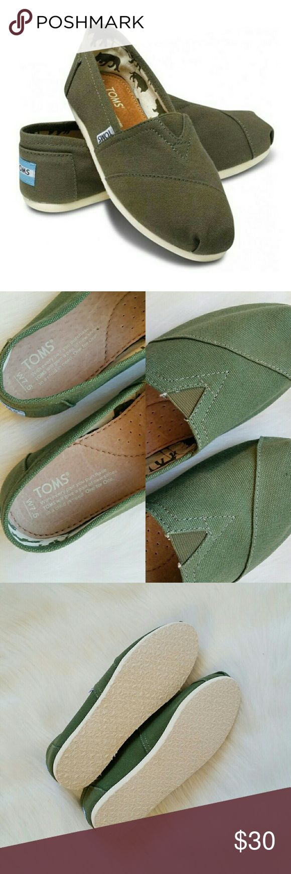 Olive Green Tom Canvas Slip On Shoes Olive Green Tom Canvas Slip On Shoes. Brand new without tags. Never worn. Size 7.5. Toms Shoes Flats & Loafers