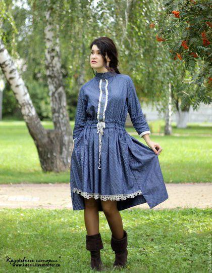 """Платья ручной работы. Пышное платье из джинсы с ручным кружевом. """"Кружевные…"""