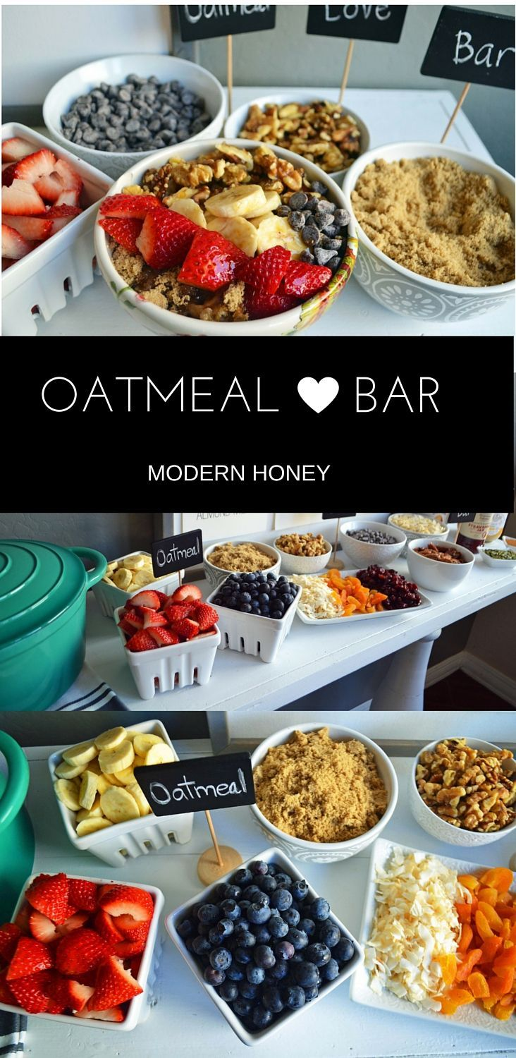 Oatmeal Bar with all of the topping ideas. List of the best oatmeal combination ideas. It's the perfect party brunch idea or a lazy Sunday breakfast. Gluten and dairy free alternatives. (Breakfast Party)