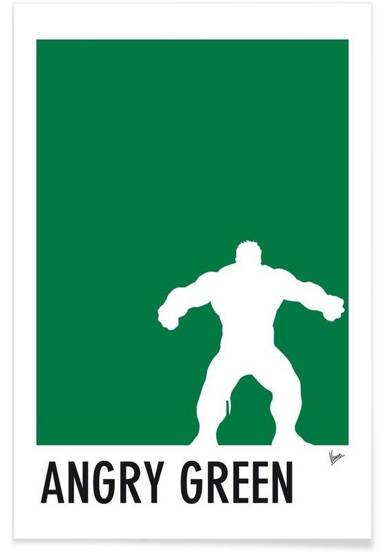 My Superhero 01 Angry Green Minimal Poster en Affiche premium par Chungkong…