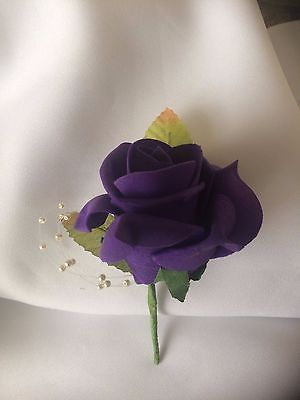 Wedding Flowers Purple Buttonhole with Pearls
