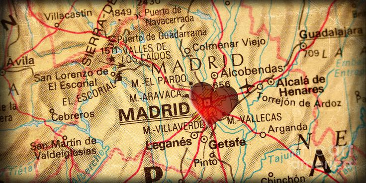 Map Of Madrid Spain Espana Europe In A Antique Distressed Vintag Photograph by ELITE IMAGE photography By Chad McDermott