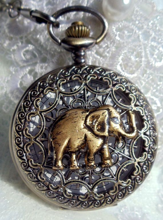 Elephant pocket watch,  Mens elephant pocket watch with black glass beads adorning chain via Etsy