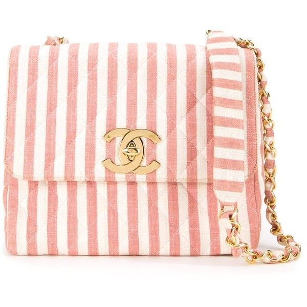 Chanel Vintage Striped Shoulder Bag ($4,960) ❤ liked on Polyvore featuring bags, handbags, shoulder bags, pink quilted purse, pink handbags, shoulder strap bags, kiss-lock handbags and cotton shoulder bag