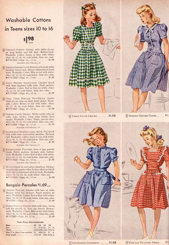 40s clothing ad for gingham| Because it's a collectors item, and baby girl that Gucci status symbol bag ain't gonna last as long as this '40s dress will!