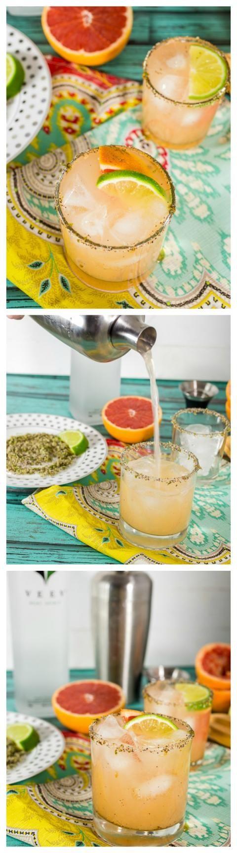 Grapefruit Margarita with Chili Lime Rim | girlinthelittleredkitchen.com
