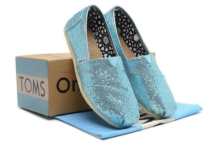 toms brillo zapatos para mujer skyblue