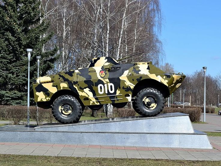 """Korolyov, Moscow Oblast. The Memorial of Glory. A BRDM-2 armored patrol car installed as the monument """"To internationalist soldiers who have fallen in local wars and armed conflicts"""". Photo by Dmitry Ivanov. 2016. #coldwar #warmemorial"""