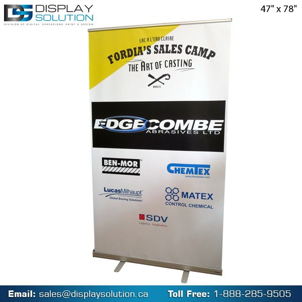Display Solution offer cost-effective Roll up banner stands for your trade shows and retail uses. Our Roll up Banner Stands are made of aluminum and having portable and lightweight. For more information visit our website- https://displaysolution.ca/banner-stand/premium-roll-up-banner.html