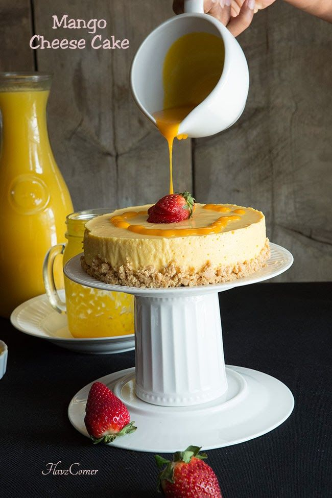 Easy Eggless No Bake Mango Cheese Cake