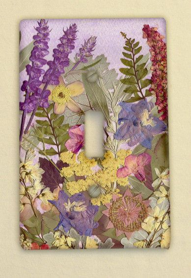 Light Switch Plate Pressed Flower Art by mypetalpress on Etsy, $9.00
