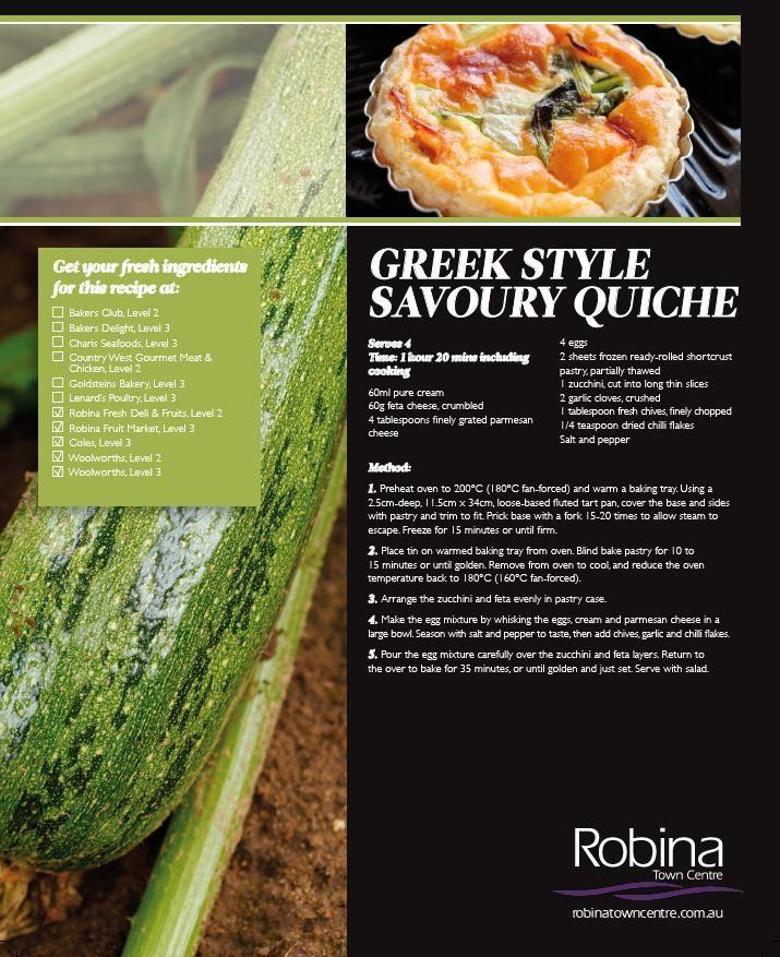 Greek style savoury quiche