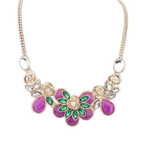 Rachel Floral Embelished Necklace £8.00  The perfect accessory for the lady with a passion for pink. This enticing necklace has been created with a floral design featuring pink, green and clear gemstones. The colours work together to create a necklace that has plenty of character and vibrancy, whilst being versatile enough to accessorise a variety of formal and informal outfits.