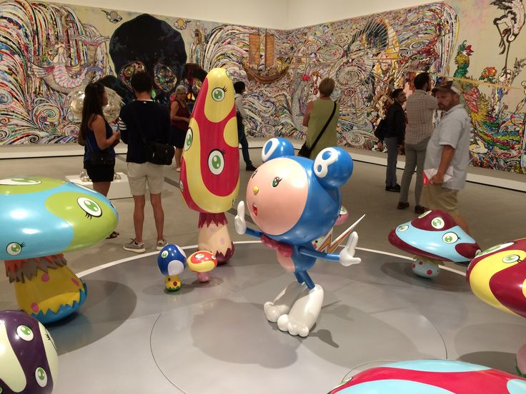 DON IN THE STRANGE FOREST (BLUE DOB), 1999 & IN THE LAND OF THE DEAD, STEPPING ON THE TAIL OF A RAINBOW, 2014 on background/ wall by TAKASHI MURAKAMI at THE BROAD Museum - LOS ANGELES. Photographed by Anthony Rios