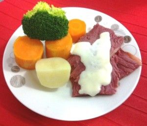 Thermomix Corned Beef Silverside and white sauce