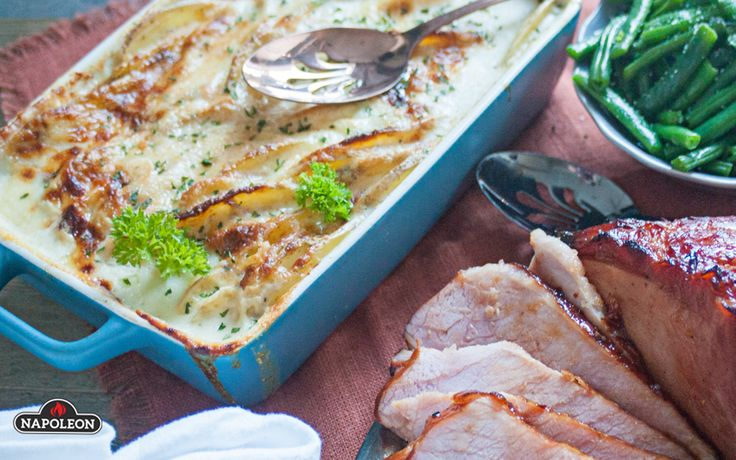 Cheesy Grill Baked Scalloped Potatoes with Goats Cheese and Parmesan