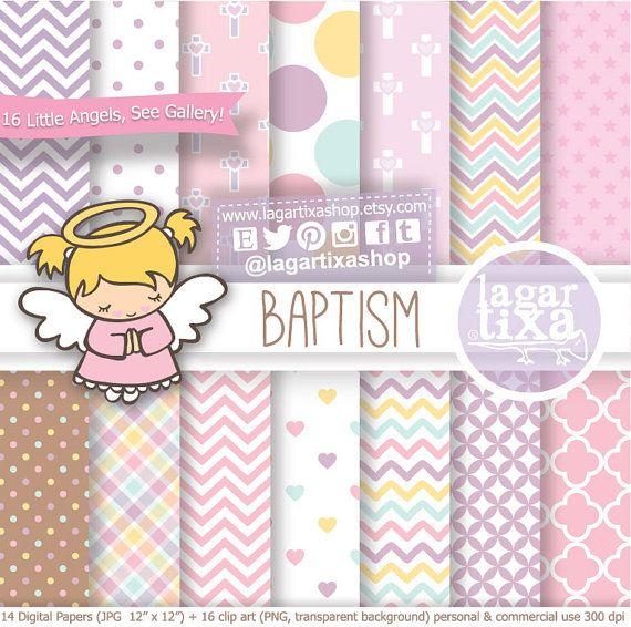 Baptism Digital Paper Clip art Pink Purple Little by LagartixaShop