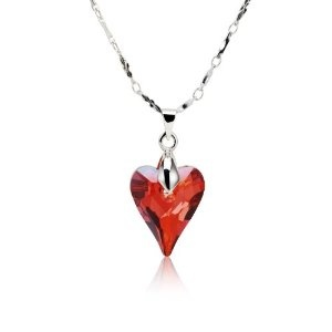 Valentines Day Gifts Swarovski Austrian Crystal Elements Sterling Silver Heart Endless Love Necklace - Red