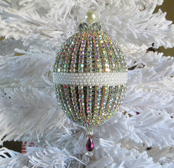 Stunning Vintage Victorian Wedding Gift / Easter / Christmas Ornament with Aurora Borealis Crystals and Pearls by HolidayCrystals, $130.00