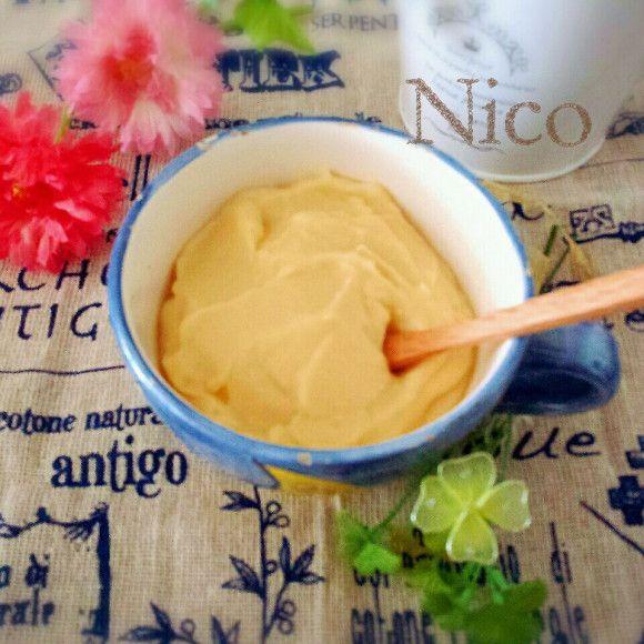 混ぜてチンするだけでできちゃう簡単「豆乳カスタードクリーム」!何かにつけたりして色んな楽しみ方ができるのでおすすめです♡作り方・アレンジをご紹介!