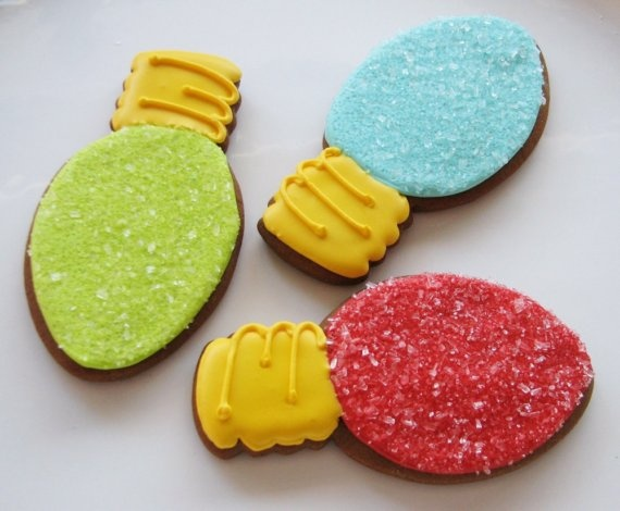 The cutest Christmas lights cookies ever!!