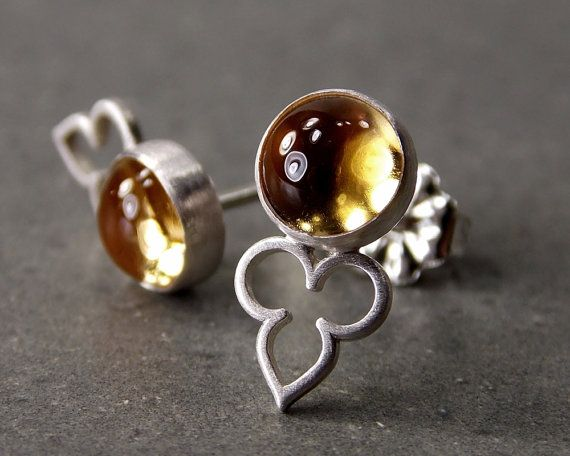 Gemstone Post Earrings Citrine Earrings Sterling by CylleneJewelry