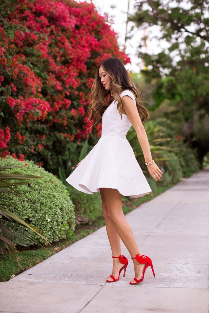 womens white skater dress red suede heeled sandals gold