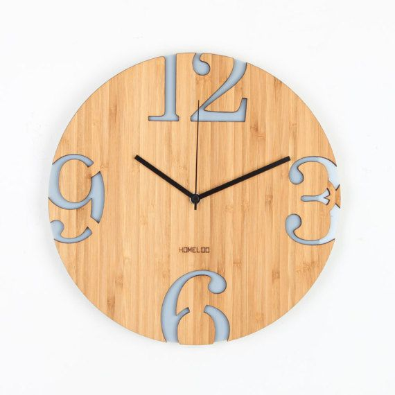 Modern Big Numbers Bamboo Wood Wall Clock - Gray