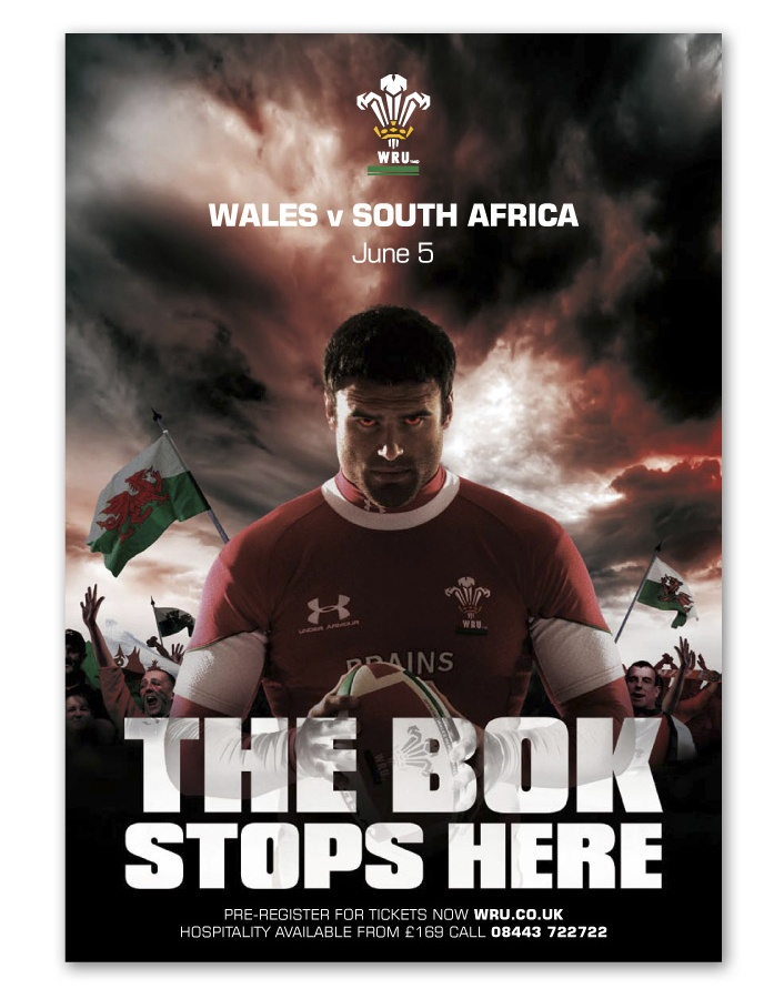 One of my favourites from our own stable (is that allowed?) - a campaign which galvanised a cynical Welsh crowd of more than 60k to front up to the Springboks for this out of season Test Match.