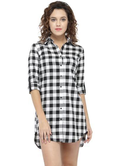 59de8d667c797d Long Black Check Shirt Dress for Women   Only on saliyamohit.wooplr.com    Best Dresses Online