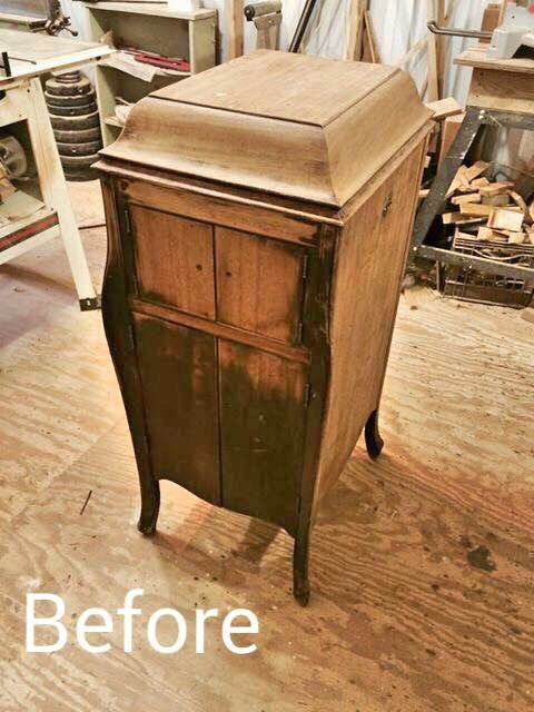 Victrola Repurposed Into Jewelry Cabinet Before