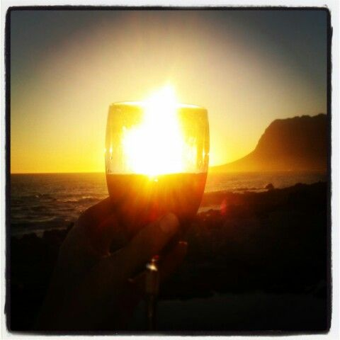 Kleinmond South Africa - sunset wine on the beach