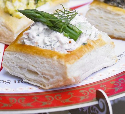 Check out smoked trout horseradish asparagus vol au for Easy canape fillings