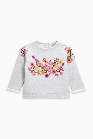 Buy Grey Flower Crew (3mths-6yrs) online today at Next: Estonia