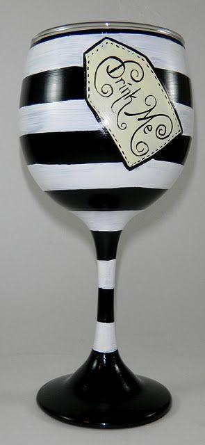 """Great idea for wine glasses, Alice in Wonderland """"drink me"""".   - for Olaf mug"""