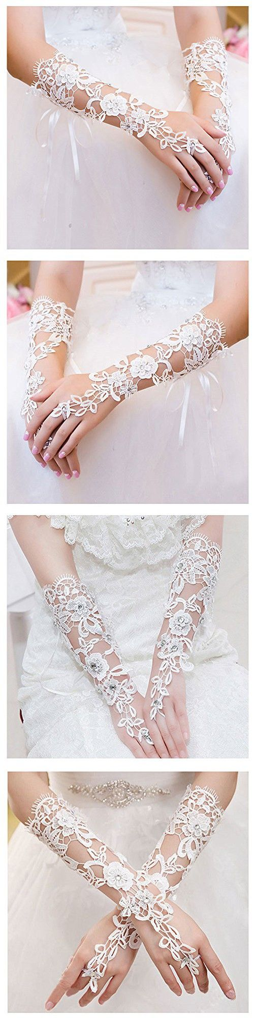 VITORIA'S GIFT The Bride Marriage Dress Wedding Sequin Lace Gloves Wedding Gloves (Long White 1)