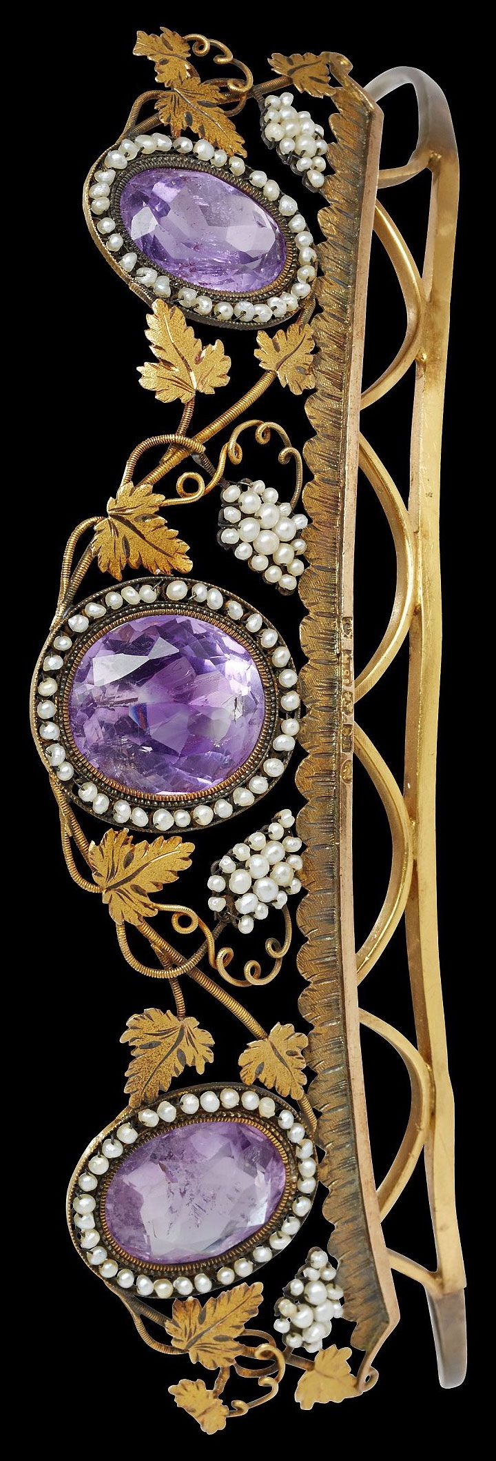 18k gold diadem, Louis Sturm, Stockholm c1816 , three oval faceted amethysts in garland of small oriental pearls, decoration of vine leaves and grape bunches in small oriental pearls , length 15,5 cm