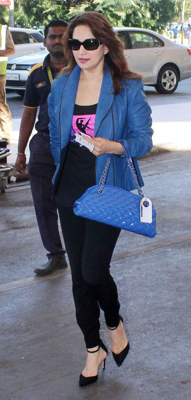 Madhuri Dixit at Mumbai airport. #Bollywood #Fashion #Style #Beauty #Hot