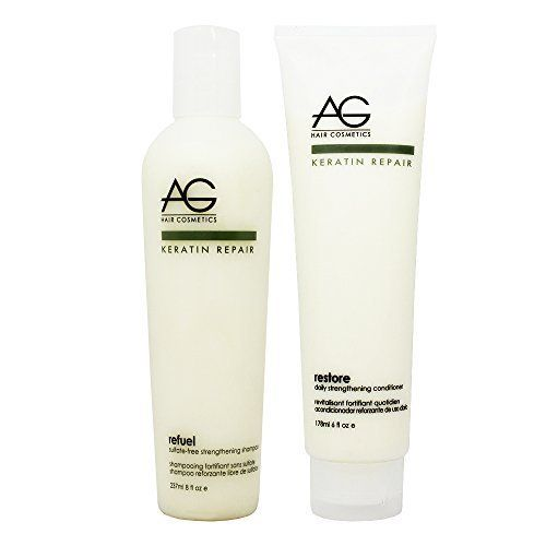 AG Hair Keratin Repair Refuel Shampoo 8oz and Restore Conditioner 6oz Duo Set by AG Hair Cosmetics >>> Details can be found by clicking on the image.