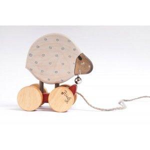 Houten Speelgoed schaap met naam - handgemaakt