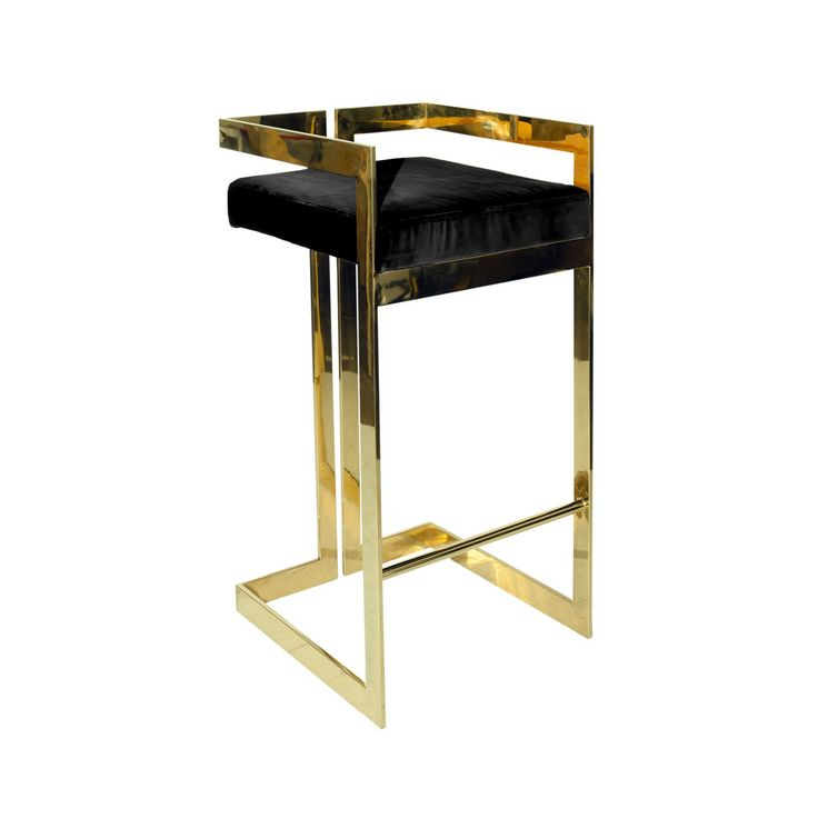 Black Ritz Bar Stool. Stainless Steel ...