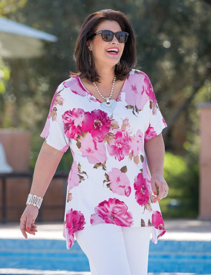 Kasbah+white/fuchsia,+taupe/fuchsia+or+navy/coral+jersey+floral+t+shirt