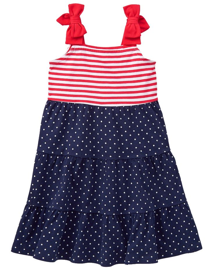 Gymboree Toddler Girl Red White & Cute Stars and Stripes Maxi Dress