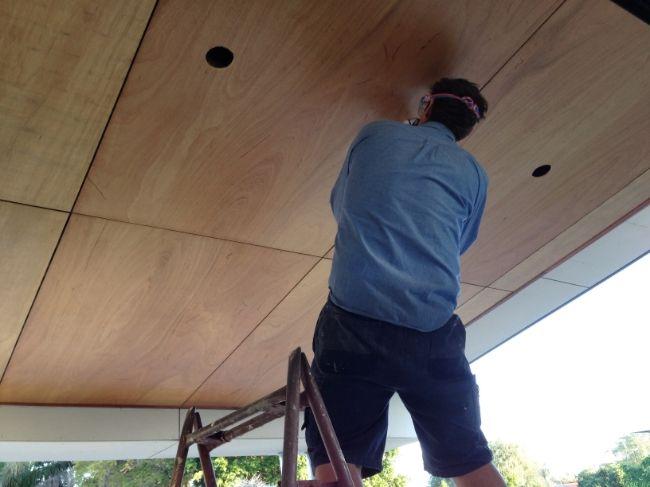 plywood alfresco ceiling