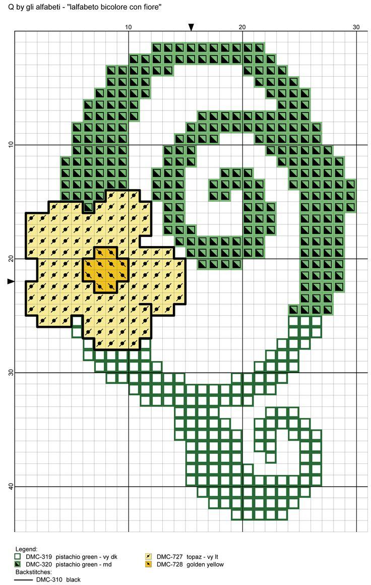 alfabeto bicolore con fiore: Q