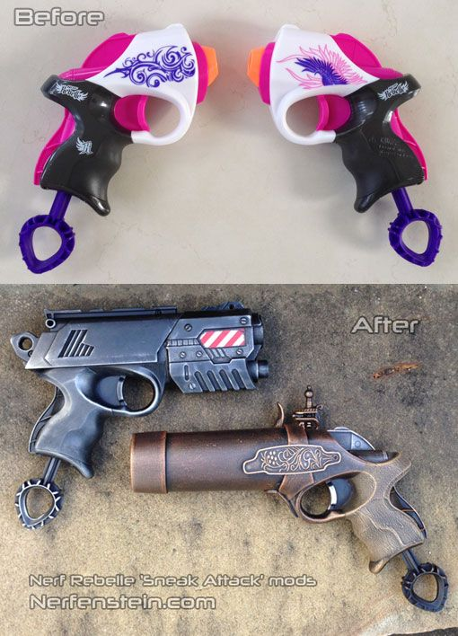before and after Nerf Rebelle Power Pair mods - Modern Steampunk pistols
